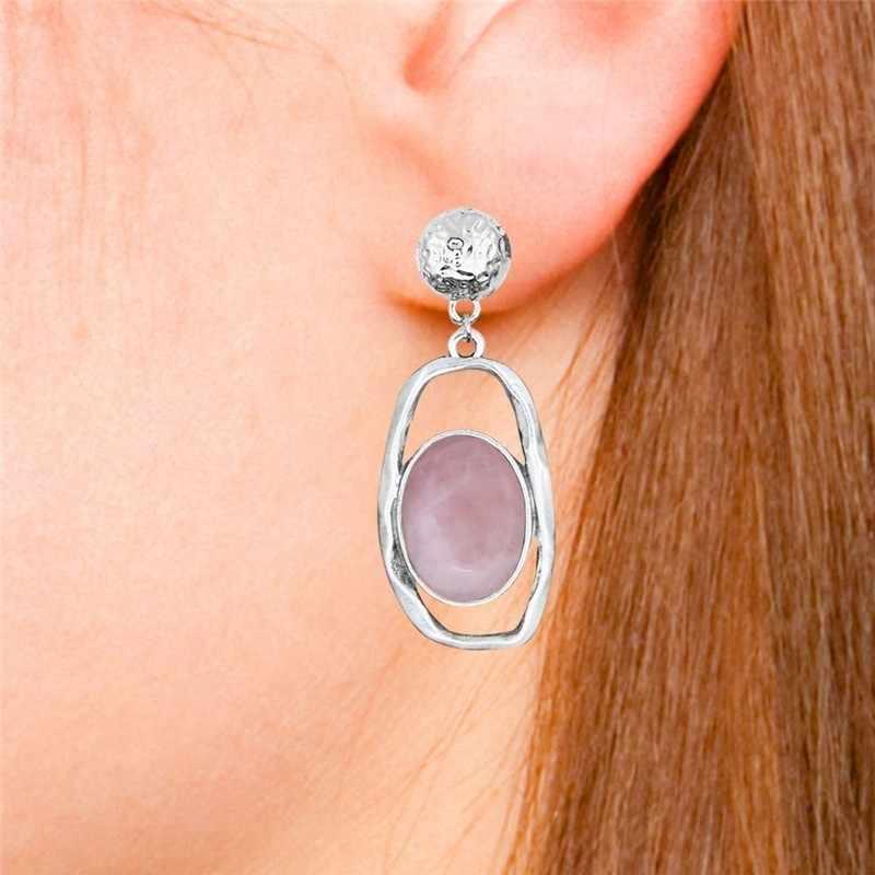 Cabochão natural quartzo jades lapis lazuli conjuntos de jóias pingente geométrico colar brincos do parafuso prisioneiro vintage moda jóias ts502