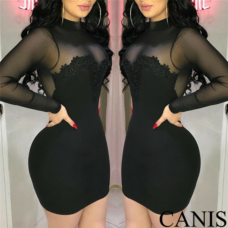 Fashion Casual Slim Solid Sexy Women's Bandage Bodycon Party Cocktail Club Long Sleeve Mini Dress Pullover Clothes