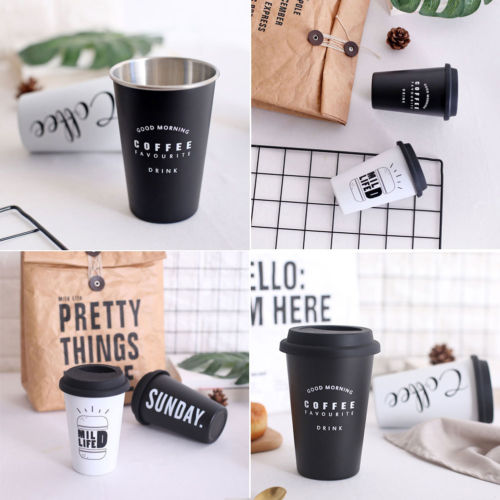 Coffee Mugs Thickened Reusable Stainless Fibre Coffee Cups Tea Coffee Mugs Travel Mug Eco Cup With Lid Straws 500ml in Vacuum Flasks Thermoses from Home Garden