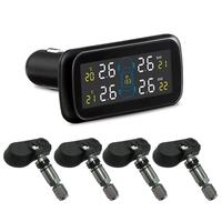 Real time Highly Internal Anti theft Car TPMS 4 Sensors Tire Pressure Monitoring System Car Cigarette Lighter Power