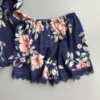 Spaghetti Strap  Printing  Lace Sexy Women Pajamas V-Neck With Pad Female Summer Pajama Set Summer Fashion Female Sleepwear 3