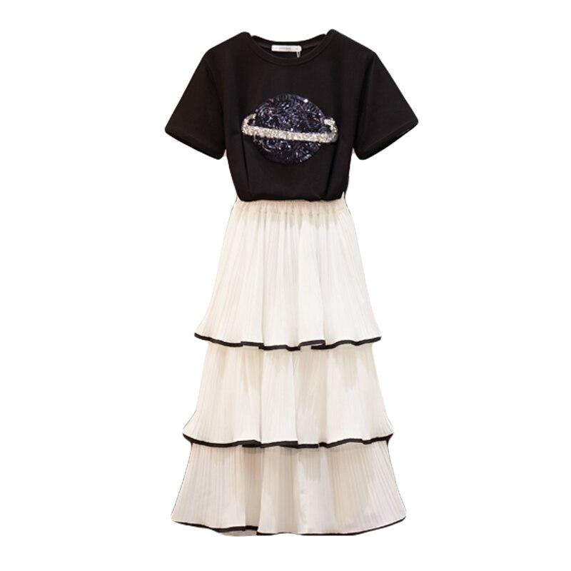 L-4XL Summer Sequined Mesh Skirt 2 Piece set Women Planet Sequins Embroider Short Sleeve Cotton Tshirt + Cake Skirt Set
