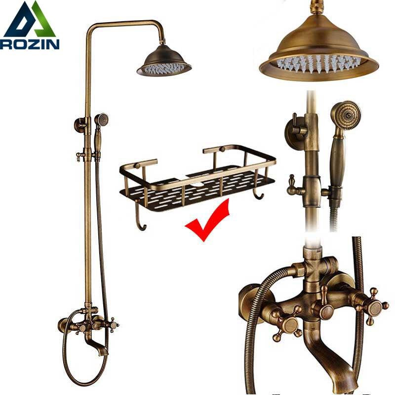 Rozin Brass Antique Bathroom Shower Faucet Set Wall Mount Dual Handle With Handshower + Shelf Brass Bathroom Shower Mixer Tap