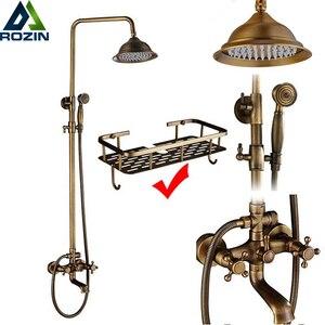 Image 1 - Rozin Brass Antique Bathroom Shower Faucet Set Wall Mount Dual Handle with Handshower + Shelf Brass Bathroom Shower Mixer Tap