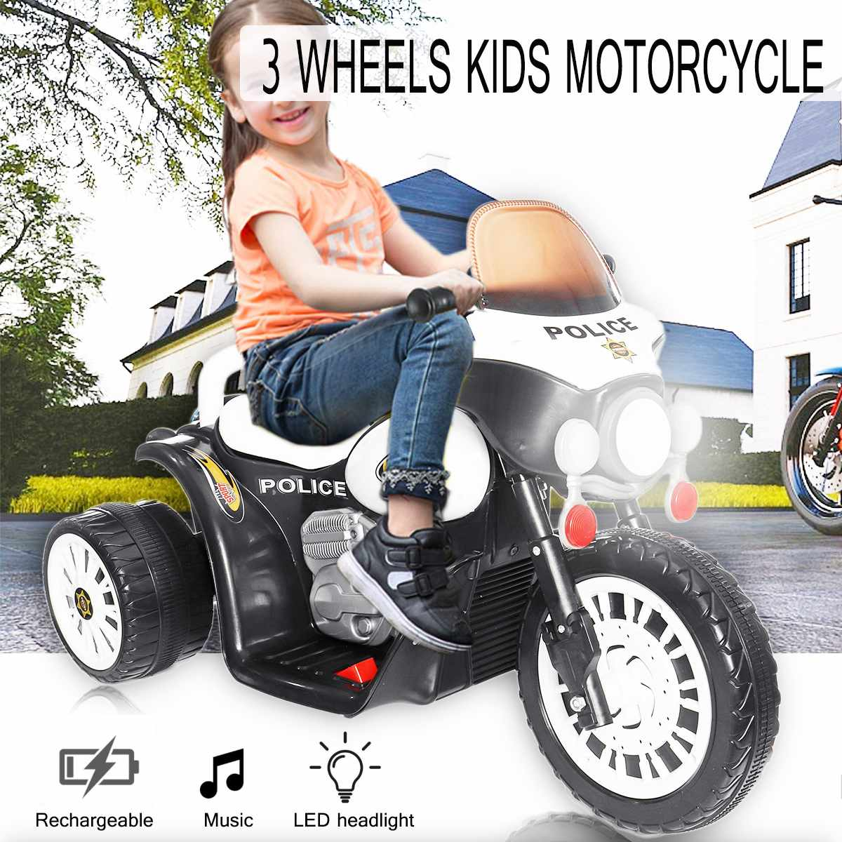 Kids Electric Motorcycle + Music Rechargeable Electric