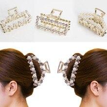Fashion Chic Hairgrips Metal Clamp Pearl Rhinestone Hair Clip Makeup Crab Women Crystal Claw
