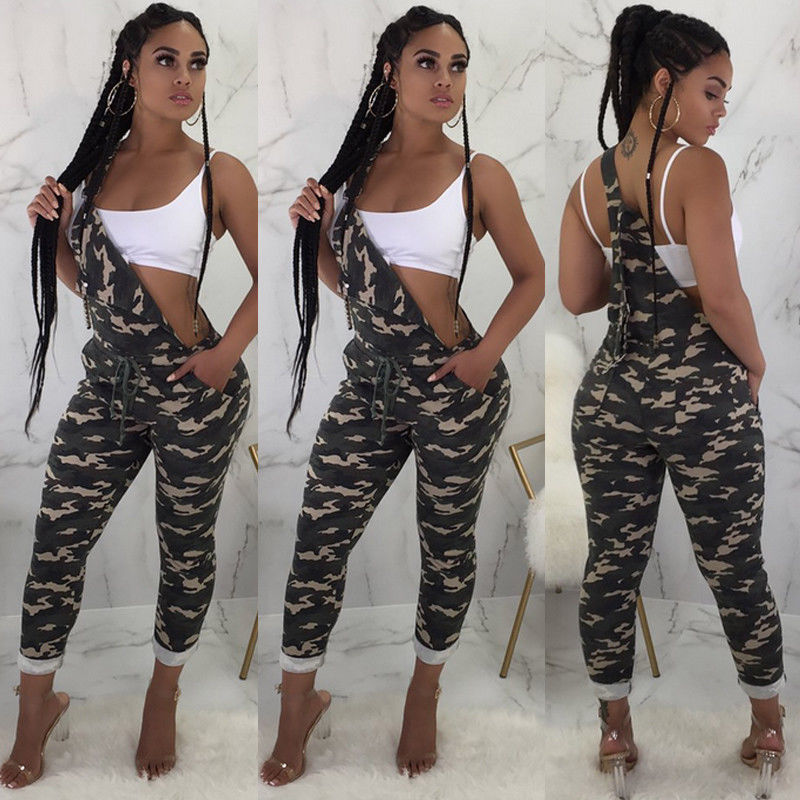 Women's Clothing New Camo Overall Playsuit Women Strap Loose Jumpsuit Dungaree Ladies Casual Harem Overall Trouser Army Cargo Pant Size S-2xl