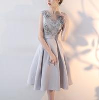 High Quality Light gray High Stand Short Sleeve Organza Short night Dress for Women