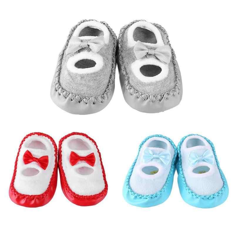 2018 יילוד אביב סתיו חורף ילדים של גרבי תינוק חמוד Bowknot מקורה בית רצפת עור בלעדי אנטי להחליק תינוקות נעלי גרביים