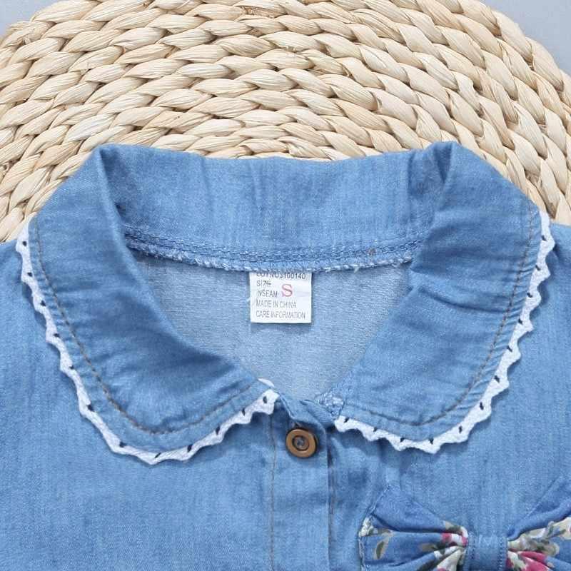 New Summer Cotton Children Clothing Denim Jeans Short Sleeves Baby Girls Fashion Infant Dress Kids Princess Flora Bow Clothes