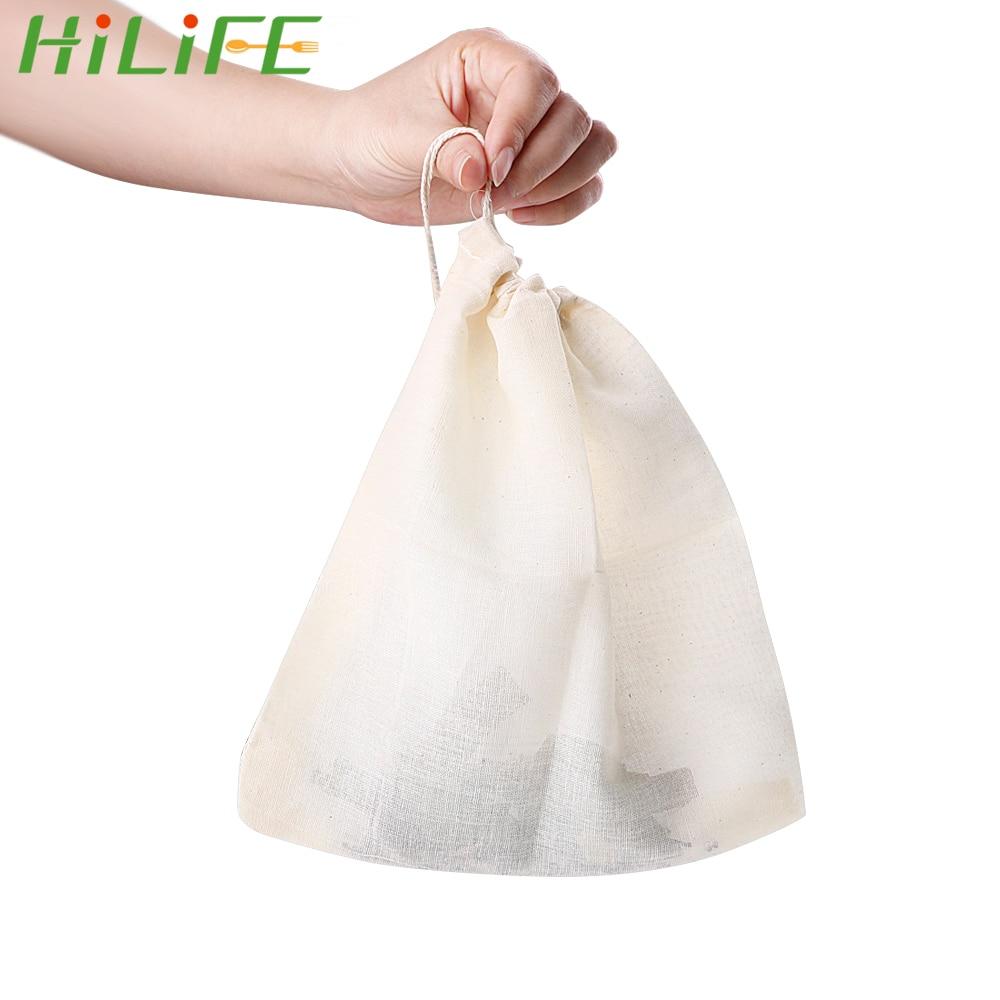 HILIFE Medicine Filter Bag Cotton Drawstring Strainer Soup Bag Tea Bag Reusable Kitchen Accessories 20*23cm Multifunctional