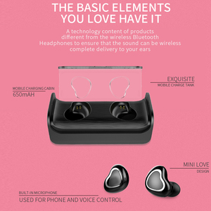 Image 5 - True Wireless Heart Earbuds Earphones TWS Stereo Bass In ear Cute Bluetooth 5.0 Earphone Pink Headset For Girl