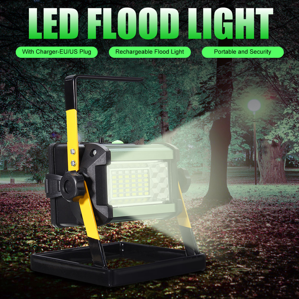 2400LM Rechargeable LED Flood Light 4 Modes 50W 36 LED Floodlights Spot Camping Portable Outdoor Flashing Lamp EU/US plug2400LM Rechargeable LED Flood Light 4 Modes 50W 36 LED Floodlights Spot Camping Portable Outdoor Flashing Lamp EU/US plug