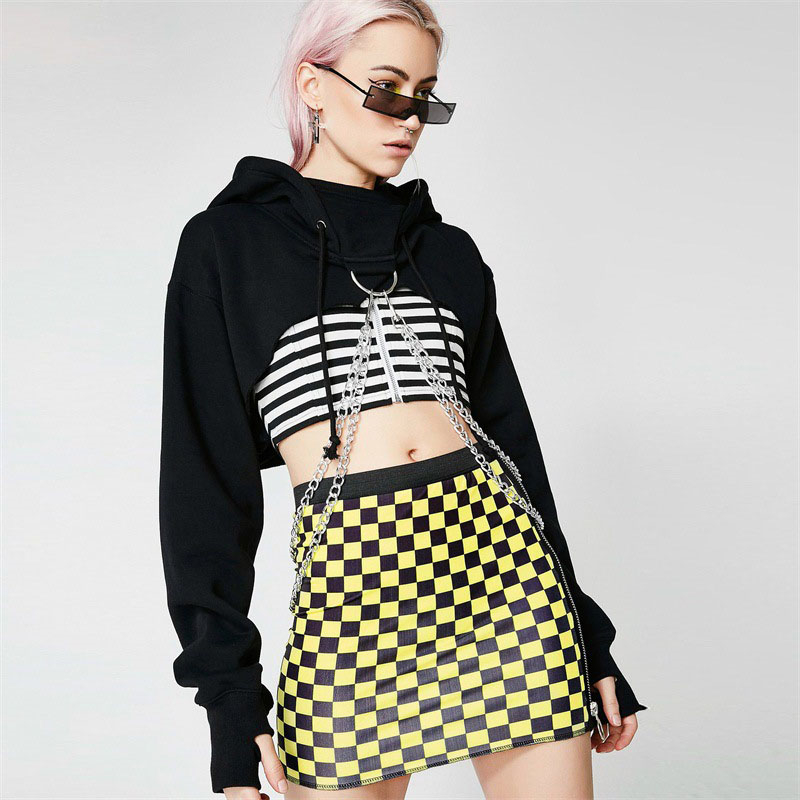 Womens Gothic Punk Plain Hoodies Girls Casual Crop Top Pullover Personality Hooded Sweatshirt Chain Decoration Jumper Hoodies