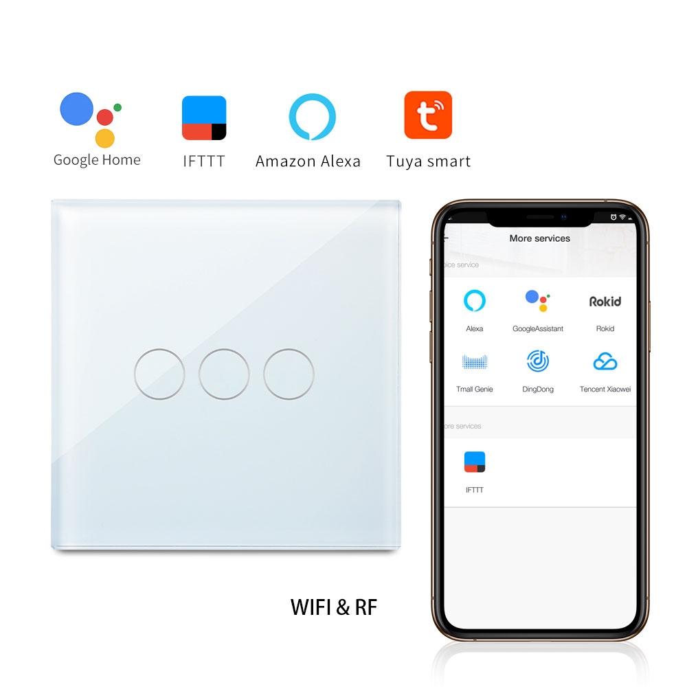 Bingoelec 3 Gang 1 Way Touch Glass Panel WIFI With Remote Wall Switch Smart Home Automation Wireless Control RF 433.92 SwitchBingoelec 3 Gang 1 Way Touch Glass Panel WIFI With Remote Wall Switch Smart Home Automation Wireless Control RF 433.92 Switch