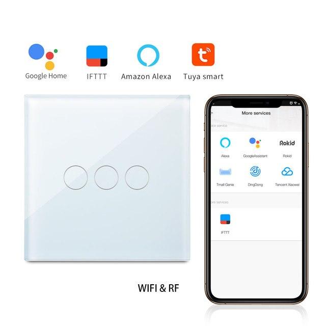 Panel de vidrio táctil bingoelece 3 Gang 1 Way WIFI con interruptor de pared remoto Control inalámbrico de automatización del hogar inteligente RF 433,92 interruptor