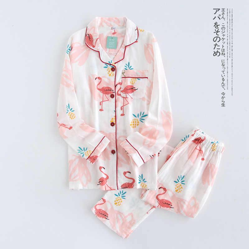 ... QWEEK Хлопковые женские пижамы с принтом Фламинго пижамы для женщин  осень длинный рукав пижама Femme модный ... 392f32dd74130
