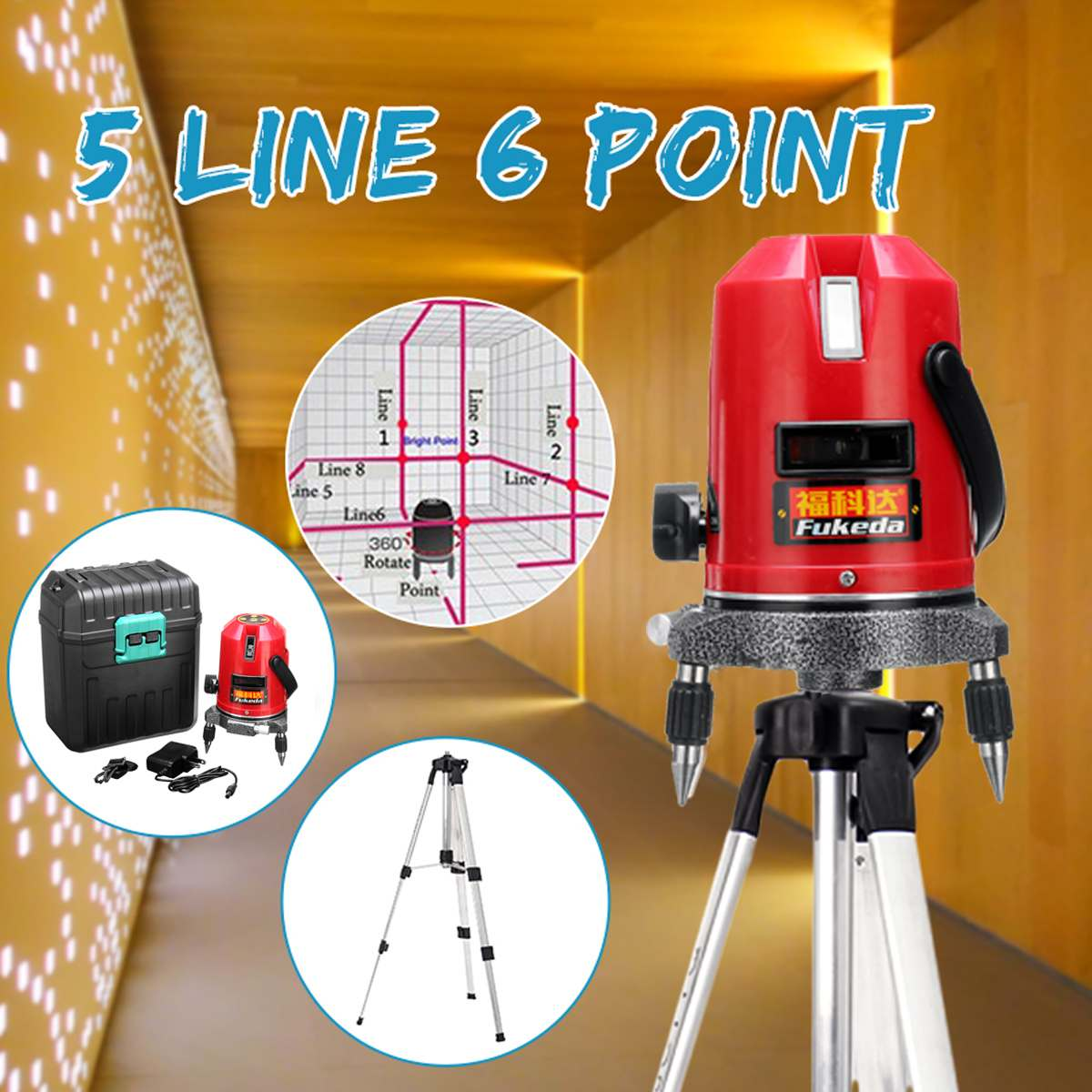 Professional Automatic Self Leveling 5 Line 6 Point 4V1H Laser Level Measure + 1M Tripod Level Stand Professional Automatic Self Leveling 5 Line 6 Point 4V1H Laser Level Measure + 1M Tripod Level Stand