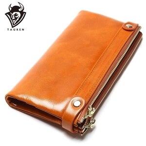 Image 1 - Kadın cüzdan hakiki deri orta uzun organizatör cüzdan yağ balmumu inek derisi çile Vintage Lady debriyaj Carteira Feminina çanta