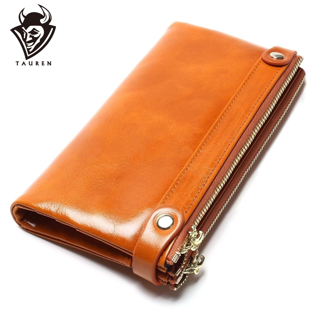 Women Wallets Genuine Leather  Medium-Long Organizer Wallet Oil Wax Cowhide Hasp Vintage Lady Clutch Carteira Feminina Purse