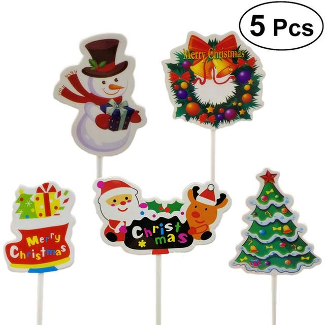 Aliexpress Com Buy 5pcs Christmas Cupcake Cake Toppers Decorations Food Muffin Fruit Sticks Sleigh Walking Stick Christmas Tree Toppers Picks From
