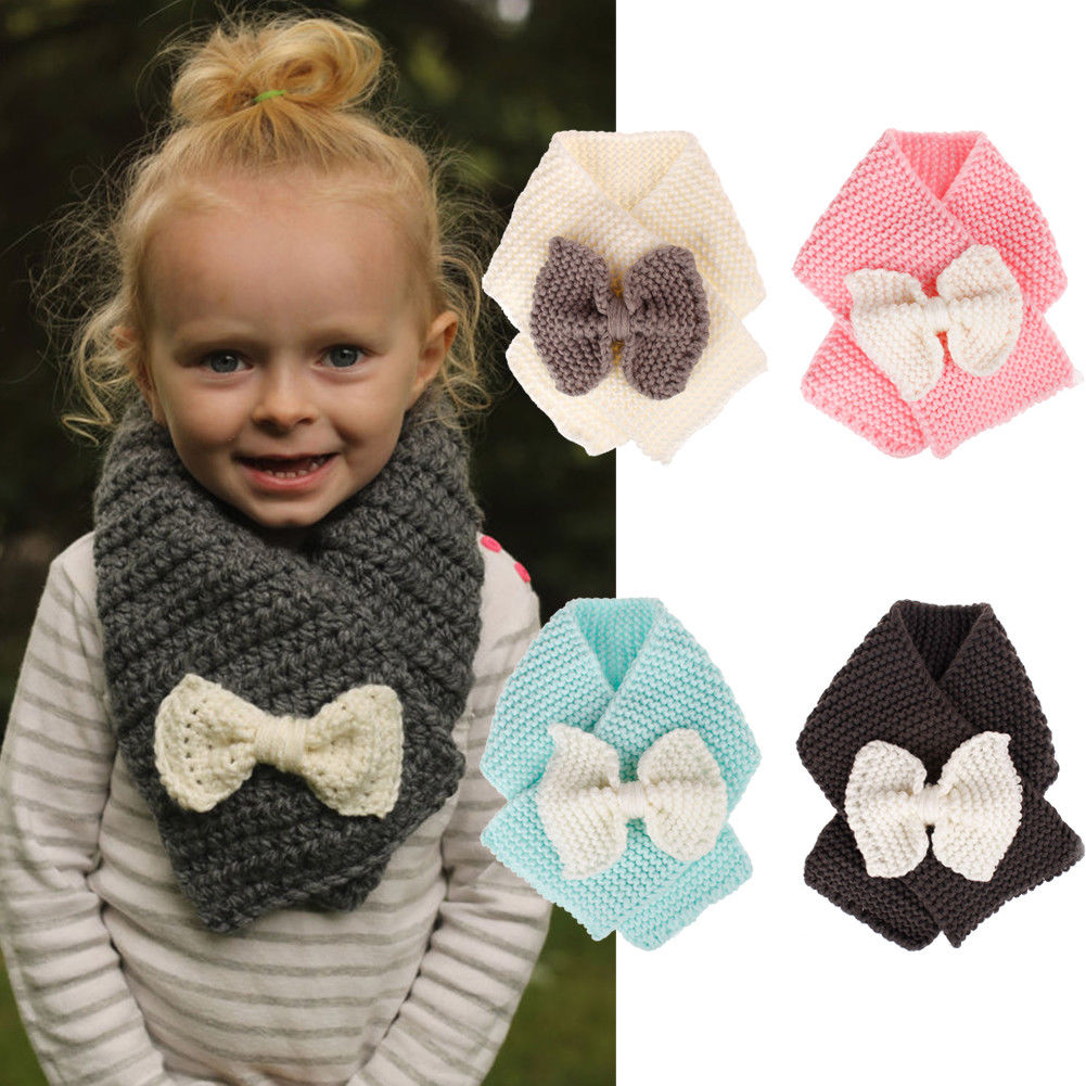 2019 Knited Cute Baby Scarf Winter Warm Solid Color Bow-Knot Plush Neckerchief Winter Outdoor Neck Warming Boys Girls Scarves