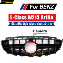 For E-CLASS W213 Grille Front Racing E63 E200 E250 E300 E350 E400 E500 AEAMG Style Grills Sports Bumper have a camera 2013+