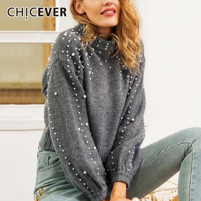 CHICEVER жемчуг свитера с бисером для женщин О образным вырезом фонари рукавом Свободные трикотажные пуловеры Топы Женская модная одежда Новинка