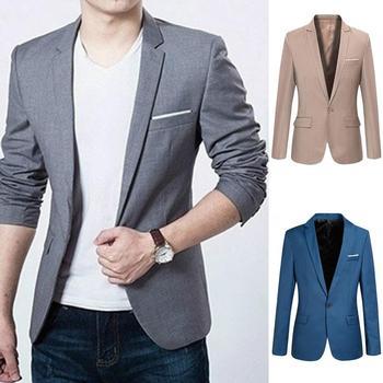 2018 de los hombres de la moda traje de negocios Slim clásico Hombre Trajes  chaquetas de traje de los hombres uno botones traje chaqueta  1124 2f30fa7786a