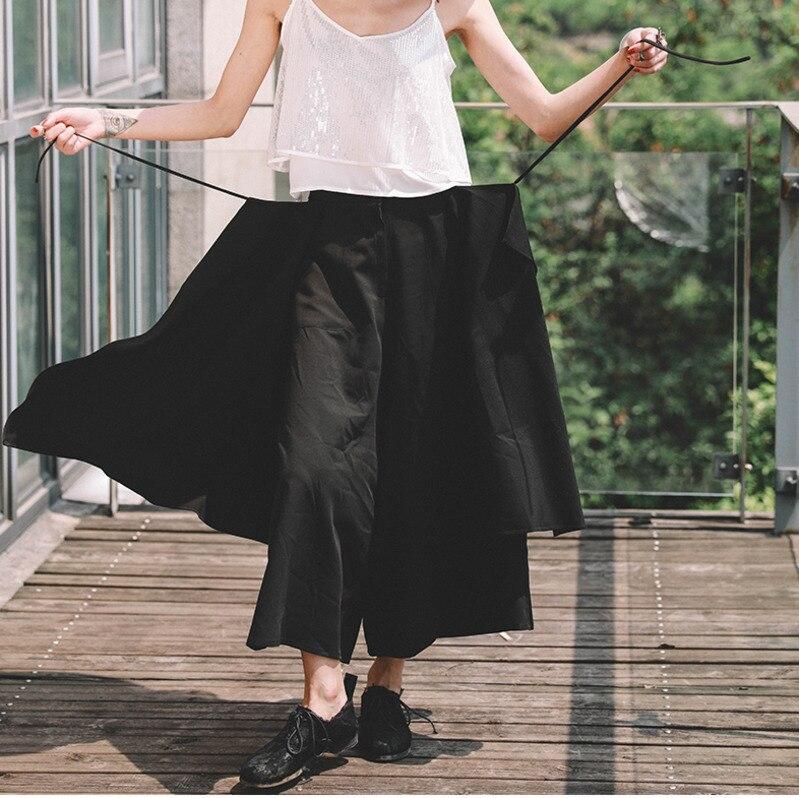 Black Moda Cintura Alto Primavera Pierna Casual Irregularidad Ancha 2019 Lanmrem Pantalones Nueva Mujer Multinivel Yf61501 Negro De Pantalones TqRxFE