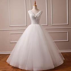 2019 Свадебные платья принцессы с v-образным вырезом и бусинами Vestidos de Novia простые трапециевидные фатиновые свадебные платья