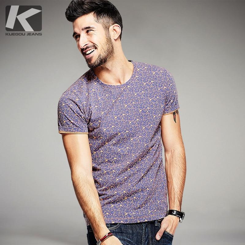 Kuegou الصيف الرجال 100٪ ٪ القمصان - ملابس رجالية