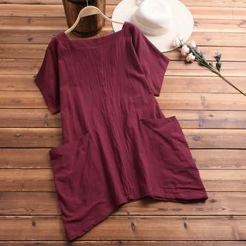 d5b2a2edba32 Tops de talla grande ZANZEA 2019 blusa de lino de mujer Vintage de ...