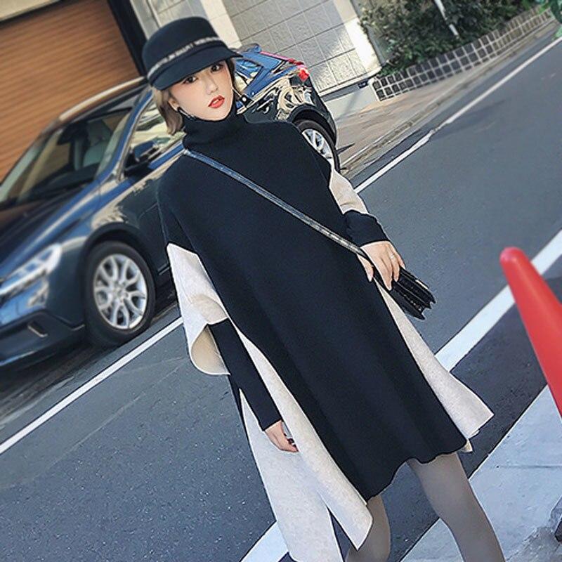 Vêtements Manches Splice Col souris Chandail Pulls Printemps Oc549 Black Chauve Lâche Femmes Streetwear Haut Shengpalae 2019 Élastique XUPw6qxHI