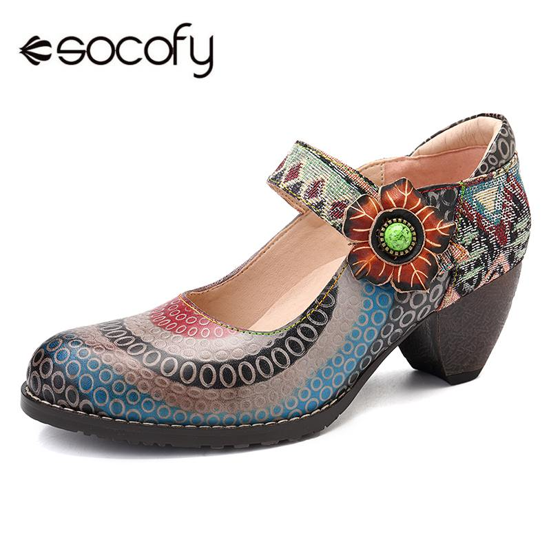 SOCOFY Retro Bohemian Floral Genuine Leather Splicing Circle Pattern Colorful Stripes Stitching Hook Loop Pumps For Spring New