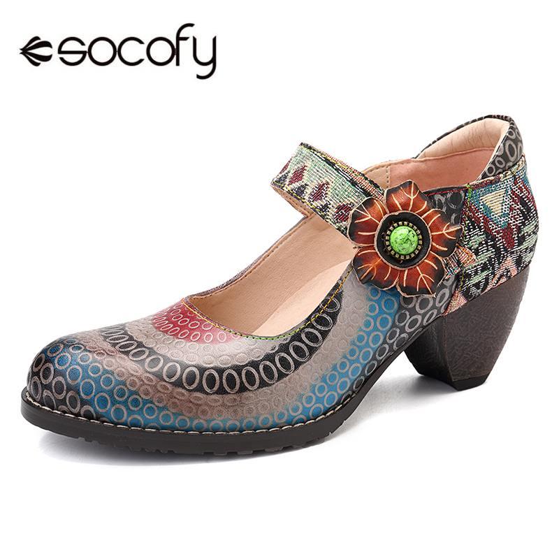 Socofy 레트로 보헤미안 꽃 정품 가죽 splicing 원형 패턴 다채로운 줄무늬 바느질 후크 루프 펌프 봄 새로운-에서여성용 펌프부터 신발 의  그룹 1