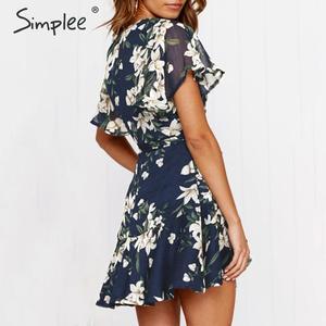 Image 4 - Simplee 自由奔放に生きる花柄女性プラスサイズショートドレスサッシフリルホリデーミニビーチドレス夏のエレガントなホワイトサンドレス