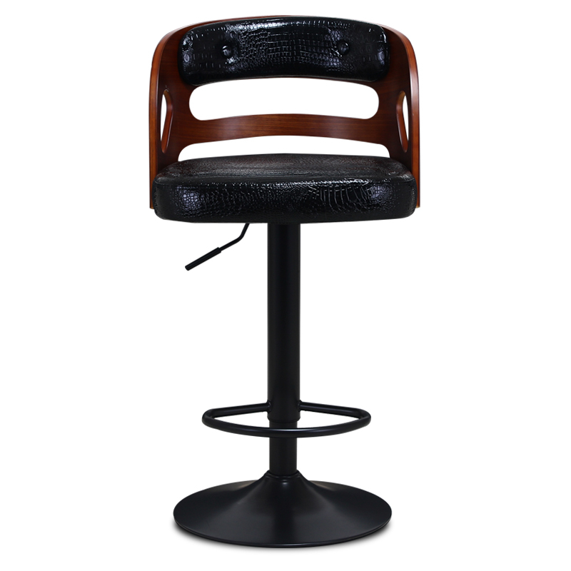 Wooden Back Bar Chair Multi-function Front Desk Retro High Stool with Footrest Household Stable Balcony Leisure Stool PU SeatWooden Back Bar Chair Multi-function Front Desk Retro High Stool with Footrest Household Stable Balcony Leisure Stool PU Seat