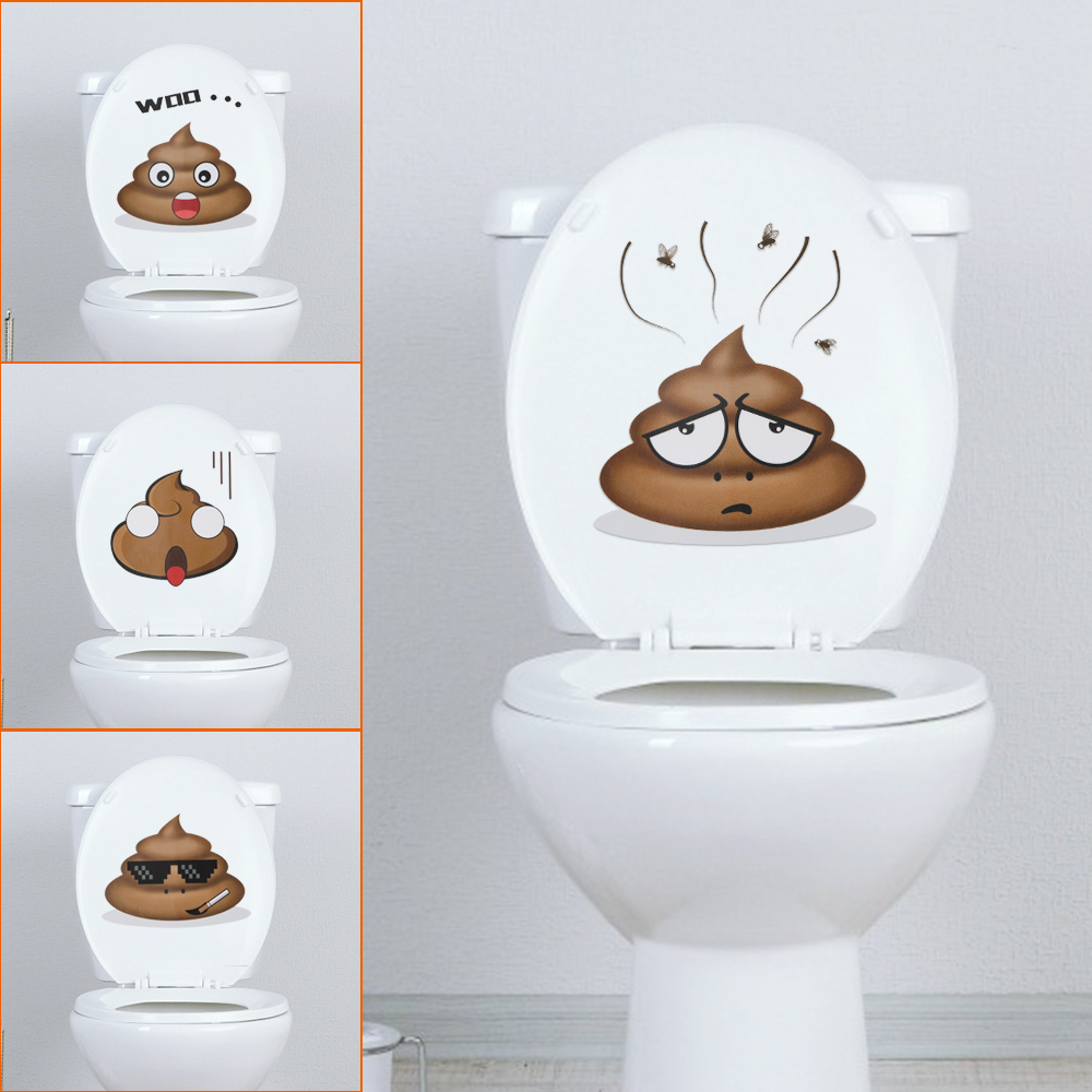 Home Decoration Cute Poo Wall Sticker Toilet Stickers Vinyl Decals Poster