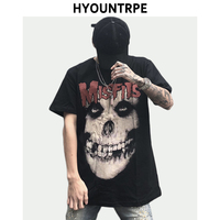 High Street Skull Printed T shirt 2019 Fashion Prints Short Sleeve T Shirt Summer Casual Loose O neck Men's T shirt Streetwear