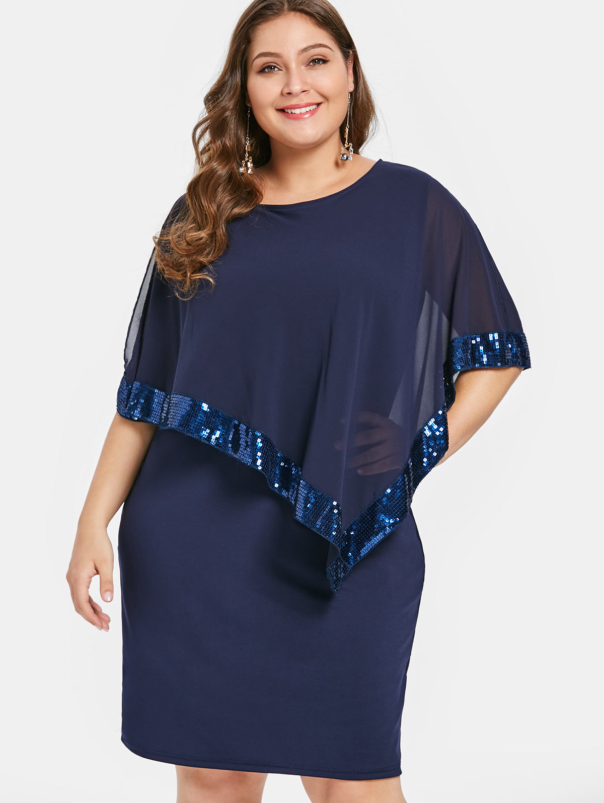 Detail Feedback Questions about Wipalo Plus Size Sequin Embellish Overlay  Dress Casual Solid Cloak Sleeves Knee Length Bodycon Party Dress Spring  Summer ... c3adabc3770d