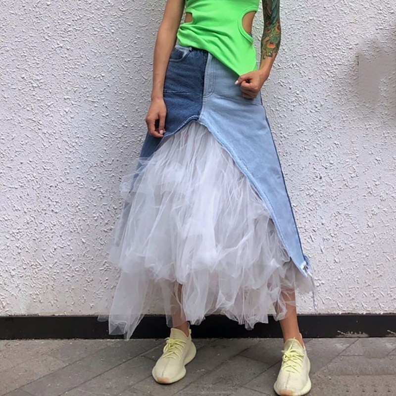YaLee] New Fashion 2019 Spring Summer Hit Color Pockets Lace up Irregular White Yarn Splicing Denim Half body Skirt Women U225-in Skirts from Women's Clothing    2