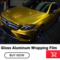 High end Gloss Candy GOLD VINYL Car Wrap sticker with Air Free full car Covering FOIL Film low initial tack adhesive