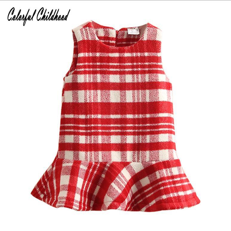 Vintage Red White Plaid Kids Dresses For Girls Christmas