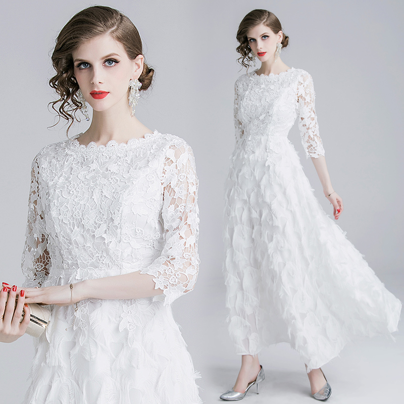 2019 gland qualité luxe piste blanc dentelle robe femmes été Sexy évider robe de soirée Vestidos maxi longue plage