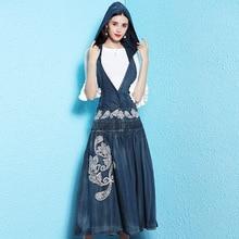 Denim dress spring and summer 2019 denim hooded Straps Embroidery Overknee length sleeveless women NW18C2894