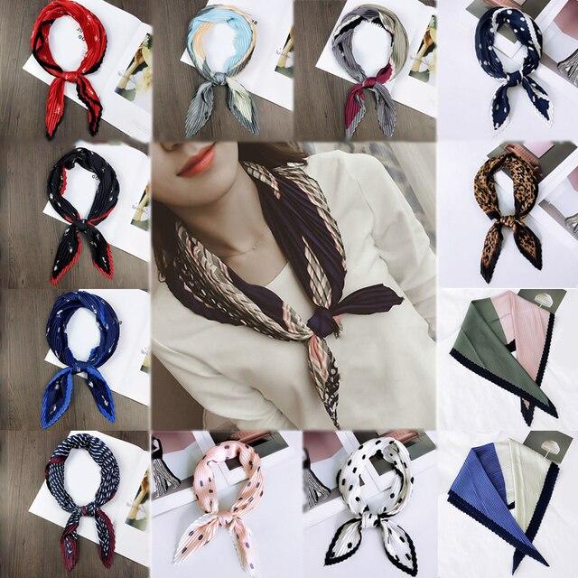 Шелковые маленький шейный шарф мягкие удобные платки квадратный мнется жатый платок в горошек бандана стюардесса печати 1 шт