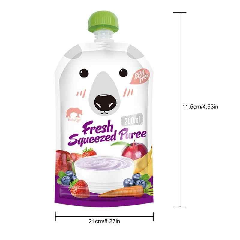 8 pçs/set Reutilizável Selado Comida de Bebê Dos Desenhos Animados Bolsa Saco Duplo Zíper Saco de Armazenamento De Leite Materno 200 ml Sacos de Alimentação Bpa -free