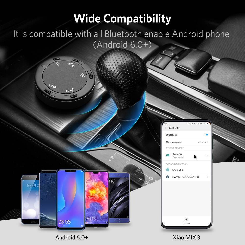 Bluetooth Button Media Remote Control Tsumbay TouchAi Smart Touch Control for Android /& Google AI Voice Assistant GPS Navigation HandsFree Call Bluetooth Car Kit Music- for Android Cellphone Only