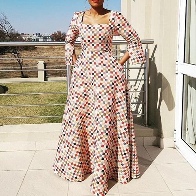 46264ce401449 Clocolor Long Dress Fashion Print Plus Size XXL African Dresses for Women  New Year Ladies Autumn Winter Long Sleeve Maxi Dress